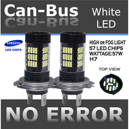 - pair 57 LED H7 Canbus Plasma Projector bulbs No Error Fit High beam or Fog Light