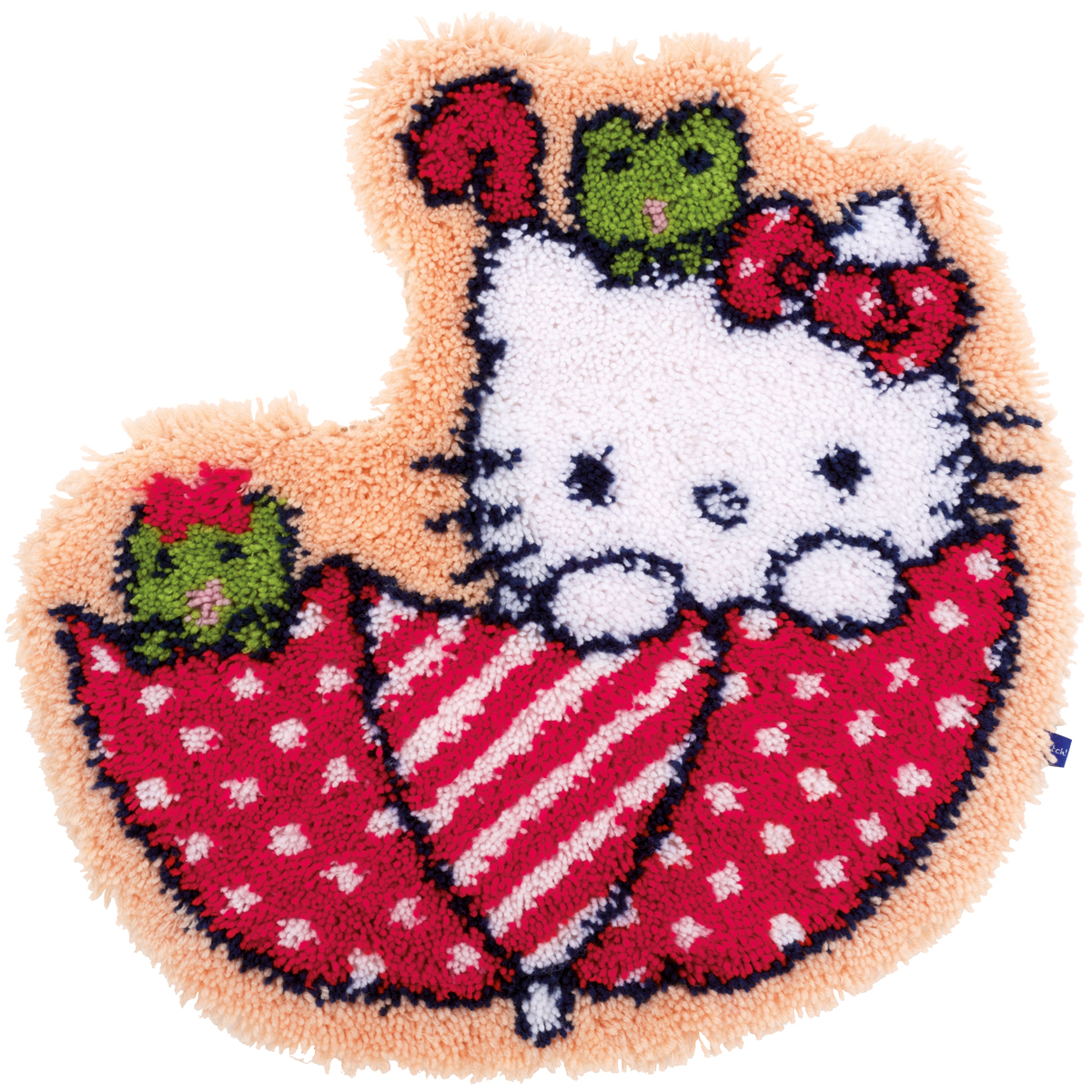 "Vervaco Shaped Rug Latch Hook Kit 21.25""X22""-Hello Kitty In The Umbrella"