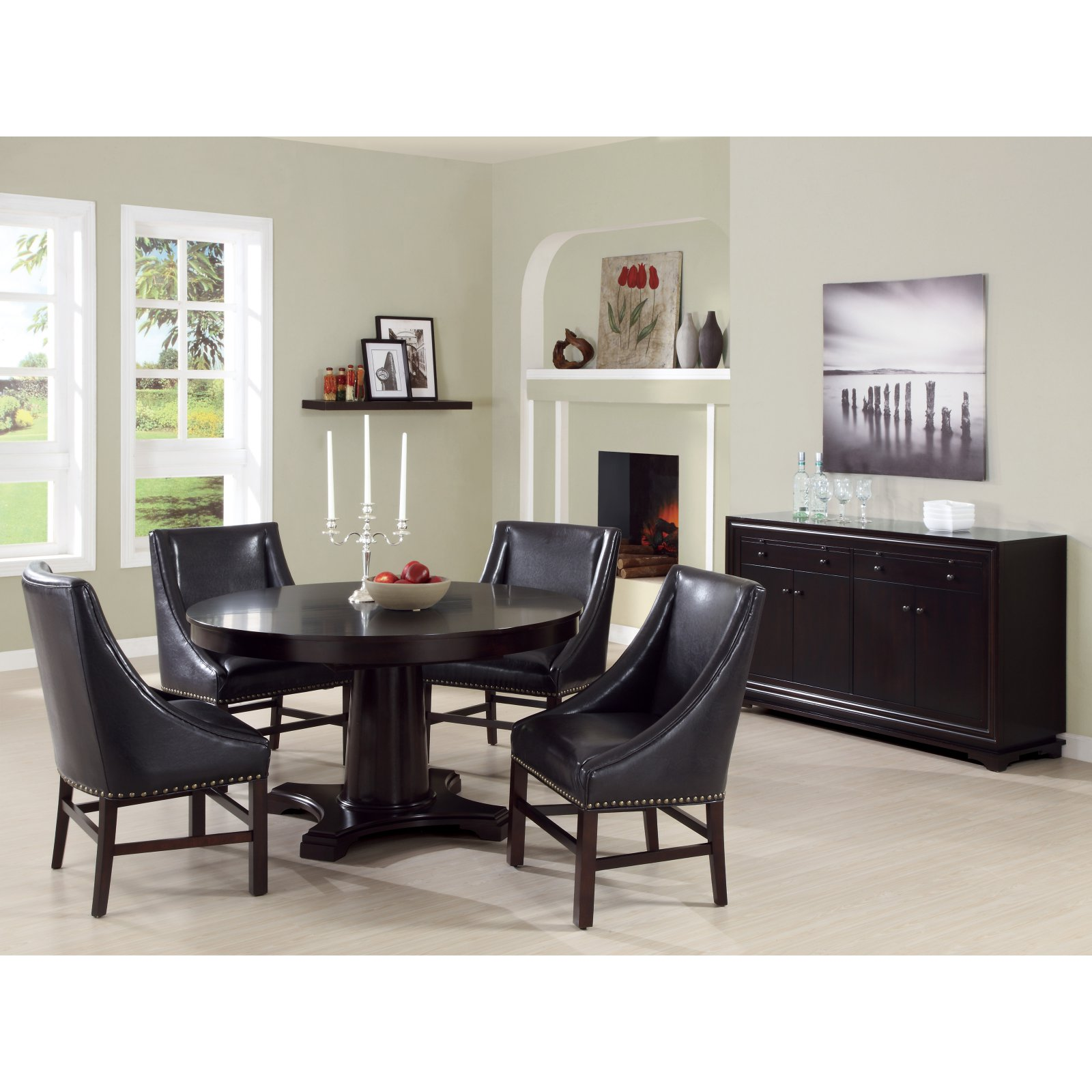 "MONARCH - DINING CHAIR - 2PCS / 38""H / DARK BROWN BONDED LEATHER"