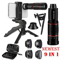 Newest 9 In 1 Mobile Phone Camera Lens Kit with 18X Telephoto Lens Fisheye Lens Wide-angle Lens Macro Lens