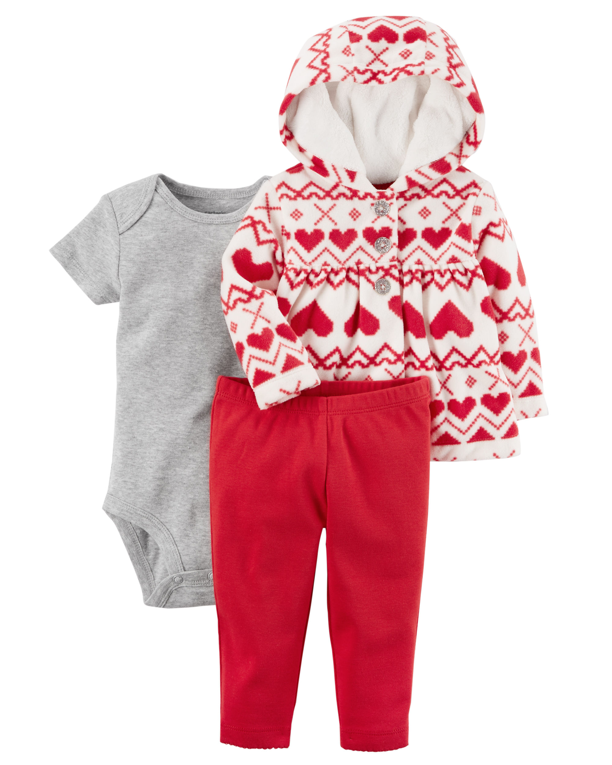 c4c0f661f Carter s Baby Girls  3 Piece Heart Print Little Jacket Set