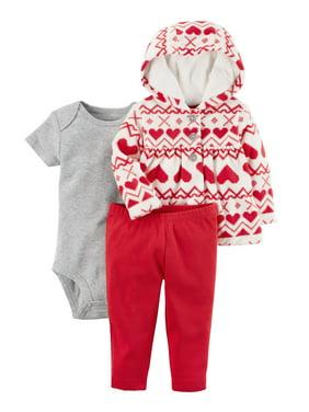 c09df4007 Product Image Carter's Baby Girls' 3 Piece Heart Print Little Jacket Set, 9  Months