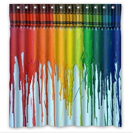 GreenDecor The Flow Of Crayons Crayon Waterproof Shower Curtain Set with Hooks Bathroom Accessories Size 66x72 inches (Shower Crayons)