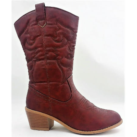 BDW-14W Western Cowboy Cowgirl Mid Calf Pointed Toe Stitched Boots Wine](Light Up Cowgirl Boots)