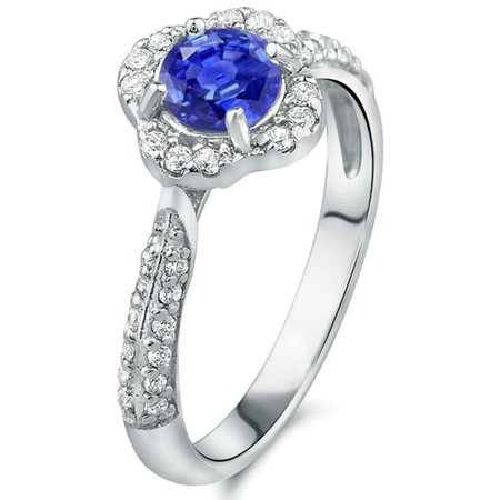1.52 tcw Round Tanzanite & Diamond Halo Vintage Ring Solid 14k White