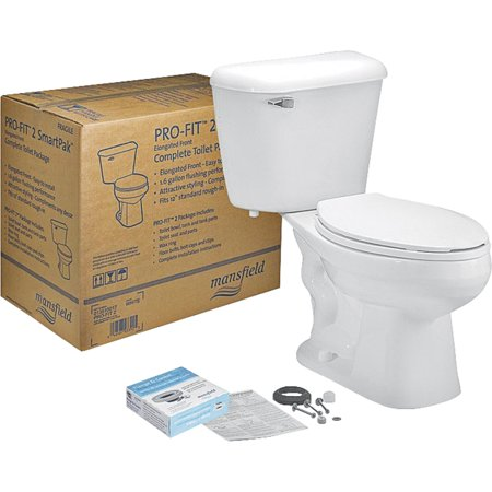 (MANSFIELD PLUMBING PRODUCTS Complete Toilet Kit, Elongated Front, White, 12-In. Rough In 135CTK)