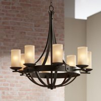 """Franklin Iron Works Industrial Bronze Chandelier 28"""" Wide Rustic Farmhouse Cylinder Scavo Glass 8-Light Fixture Dining Room House"""