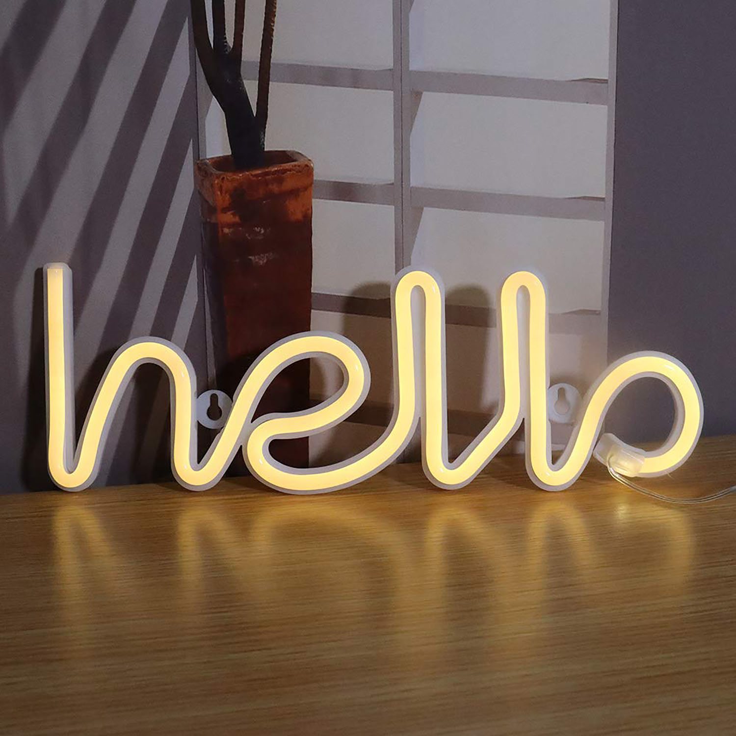 Led Neon Hello Sign Shape Wall Sign Halloween For Cool Light Wall Art Bedroom Decorations Home Accessories Party Holiday Decor Walmart Canada