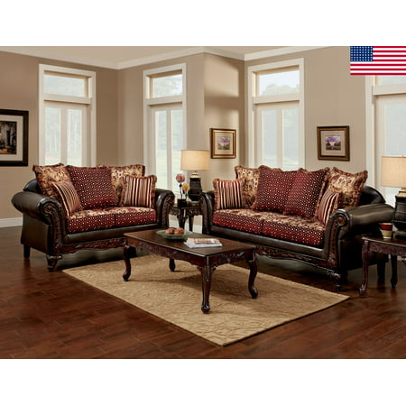 Formal Traditional 2pc Sofa Set Sofa And Love-seat Brown Chenille Fabric Living Room Furniture Pillows Couch USA ()