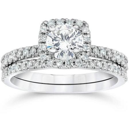 5/8 Ct TDW Diamond Cushion Halo Engagement Wedding Ring Set White Gold