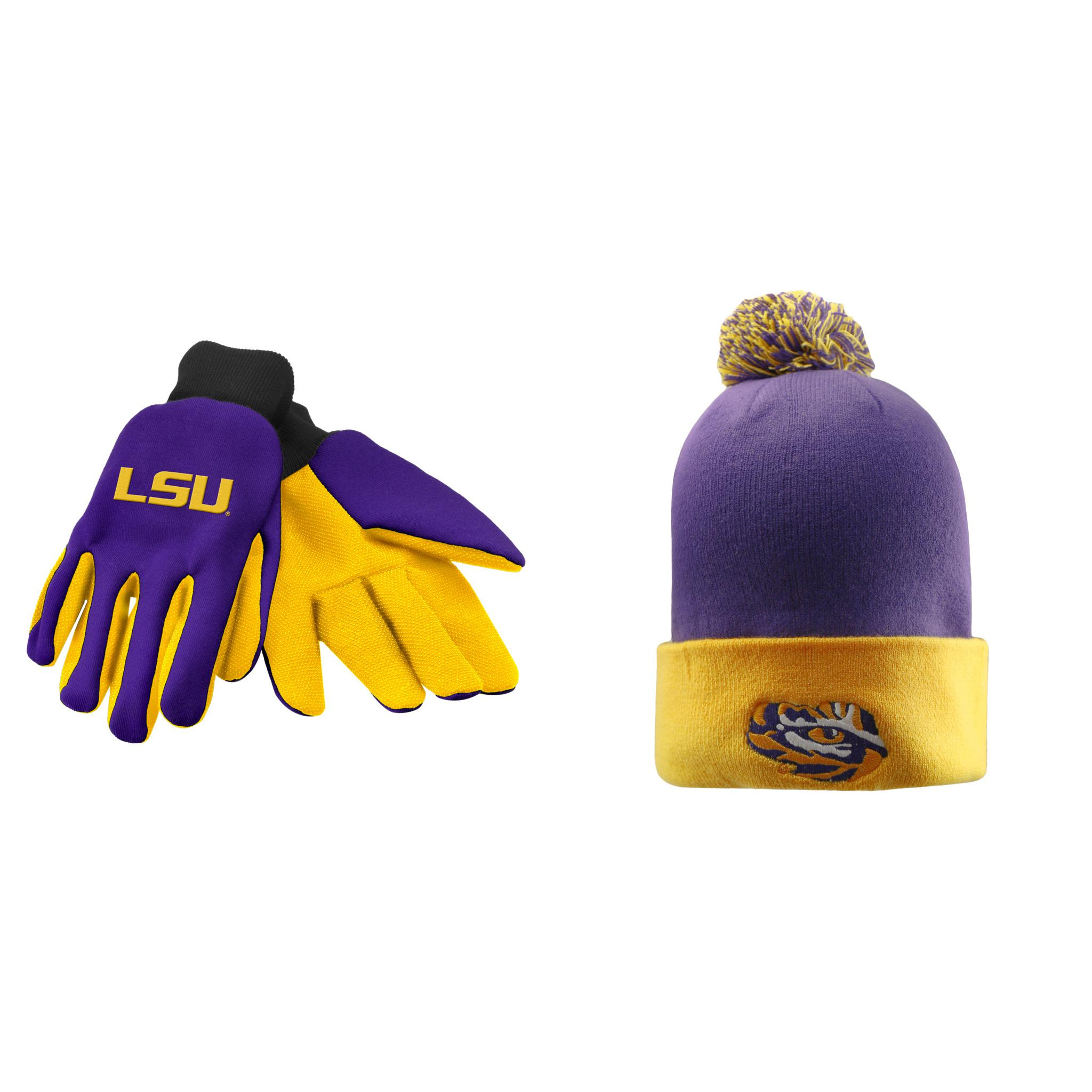 NCAA LSU Tigers Pom Beanie Hat And Grip Work Glove 2 Pack Bundle ...