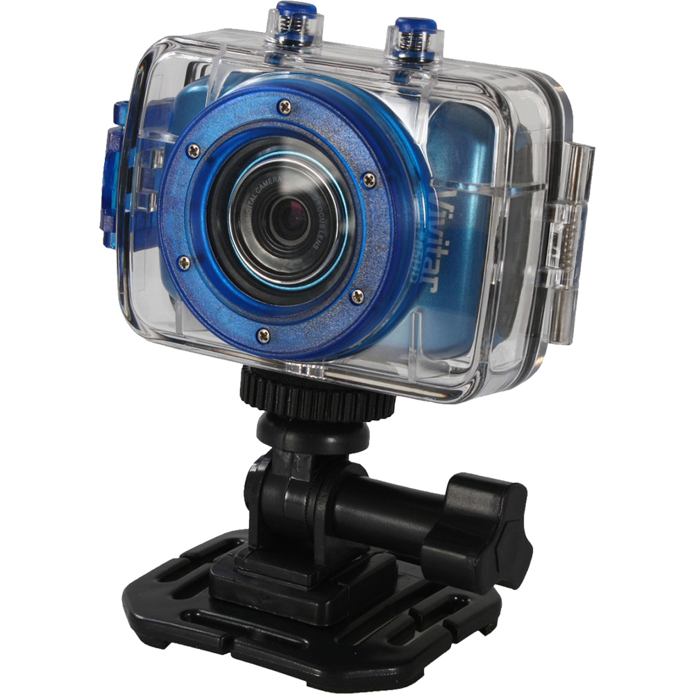 Vivitar DVR785HD Waterproof Action Video Camera Camcorder (Blue) with Helmet & Bike Mounts