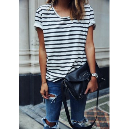 Women Spring and Summer Striped Sexy Casual Match Everything Bottoming Short-sleeved T-shirt ()