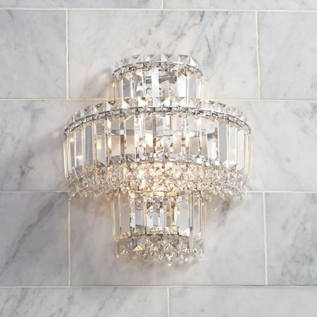 Vienna Full Spectrum Wall Light Sconce Chrome Hardwired 12 1/2