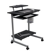 Techni Mobili Compact Computer Cart with Multiple Storage, Ergonomic Workstation with Particle Board Panels and PVC Laminate Veneer Surface, Graphite