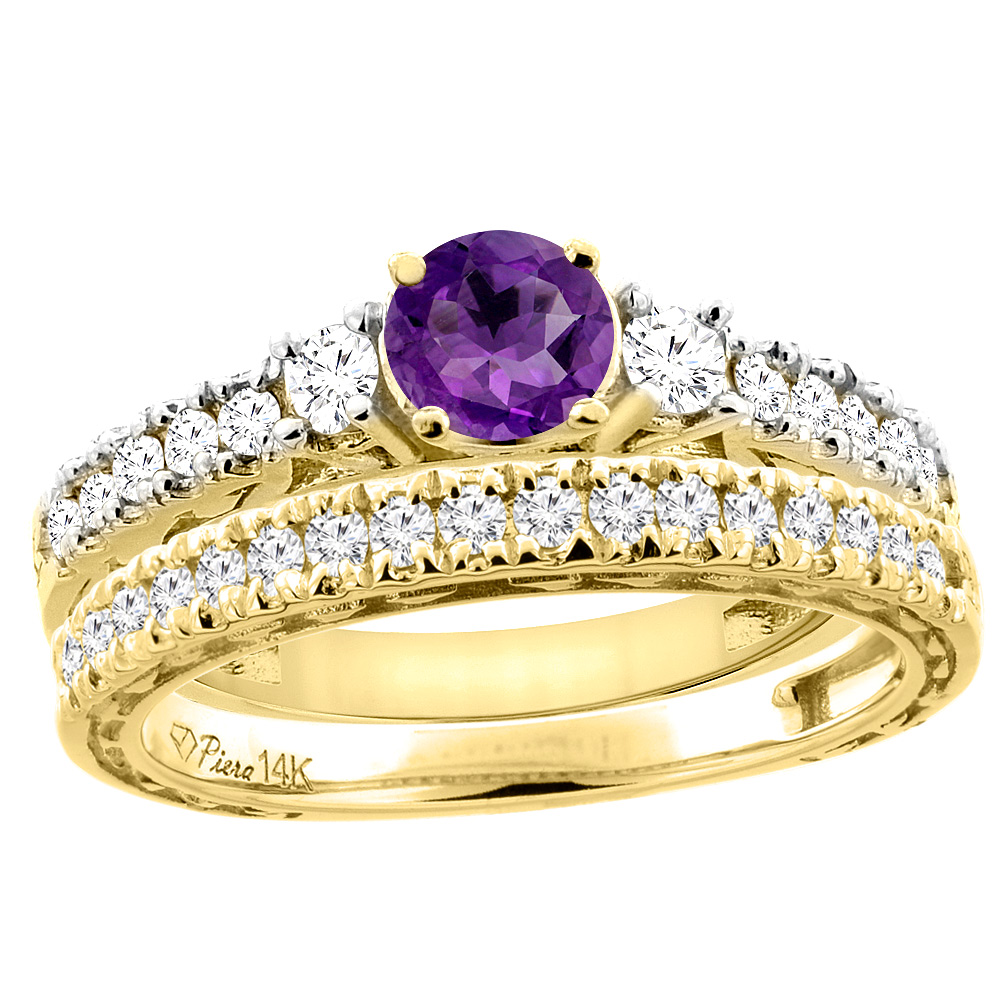 14K Yellow Gold Diamond Natural Amethyst Engagement 2-pc Ring Set Engraved Round 6 mm, size 6 by Gabriella Gold