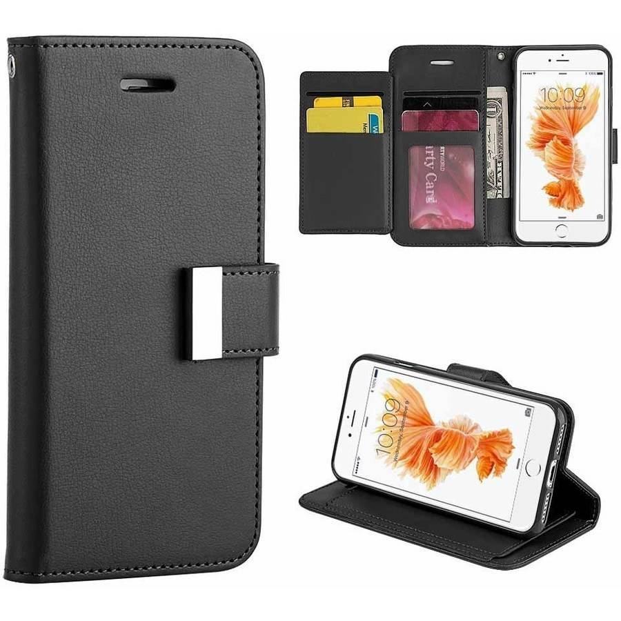 MUNDAZE Extra Storage Wallet Case for Apple iPhone 7 Plus, Black