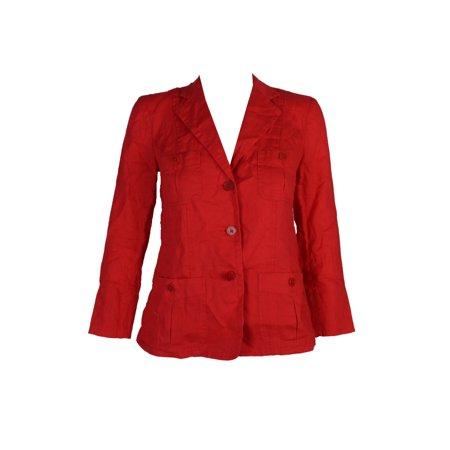 Lauren Ralph Lauren Petite Tomato Red Linen Blazer - 100% Linen Blazer