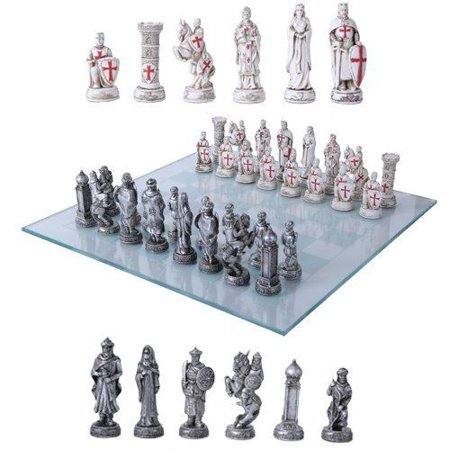 Islamic Glass - Crusader Christian Kingdoms VS Muslim Ottoman Empire Resin Chess Pieces With Gla