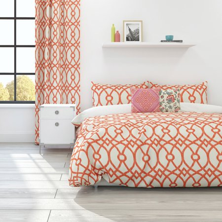 Piper Soft Cotton Coral Duvet Cover Set, Full/Queen ()