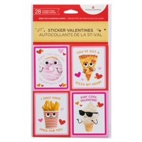 American Greetings Valentine's Day Cards for Kids Classroom, Food Stickers (28-Count)