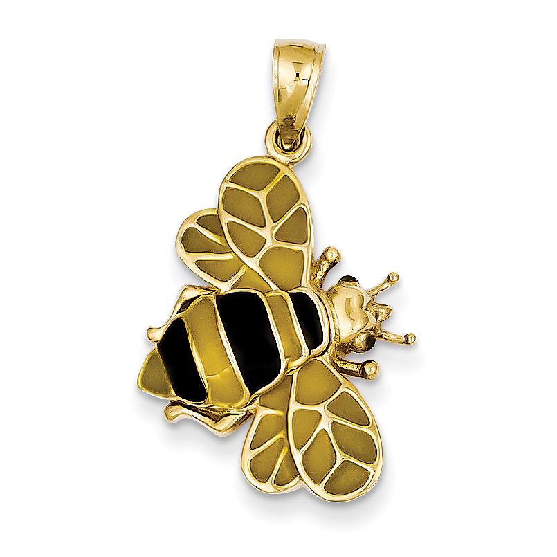 14k Enameled Bumblebee Pendant YC576 (29mm x 17mm) - image 3 de 3