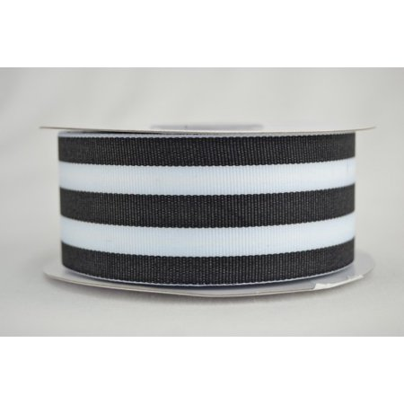 Ribbon Bazaar Grosgrain Value Stripes 5/8 inch Coal 20 yards 100% Polyester Ribbon ()