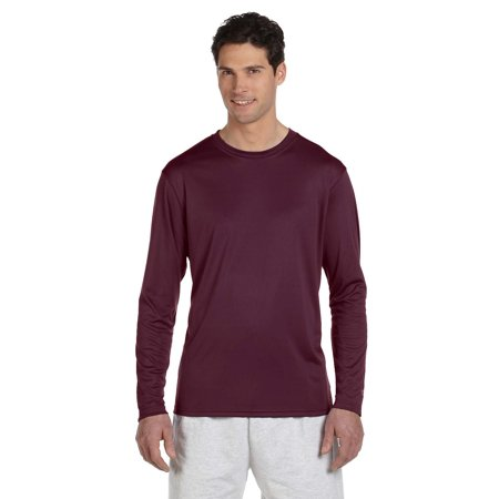 Mens Double Dry Long Sleeve Tee L Maroon