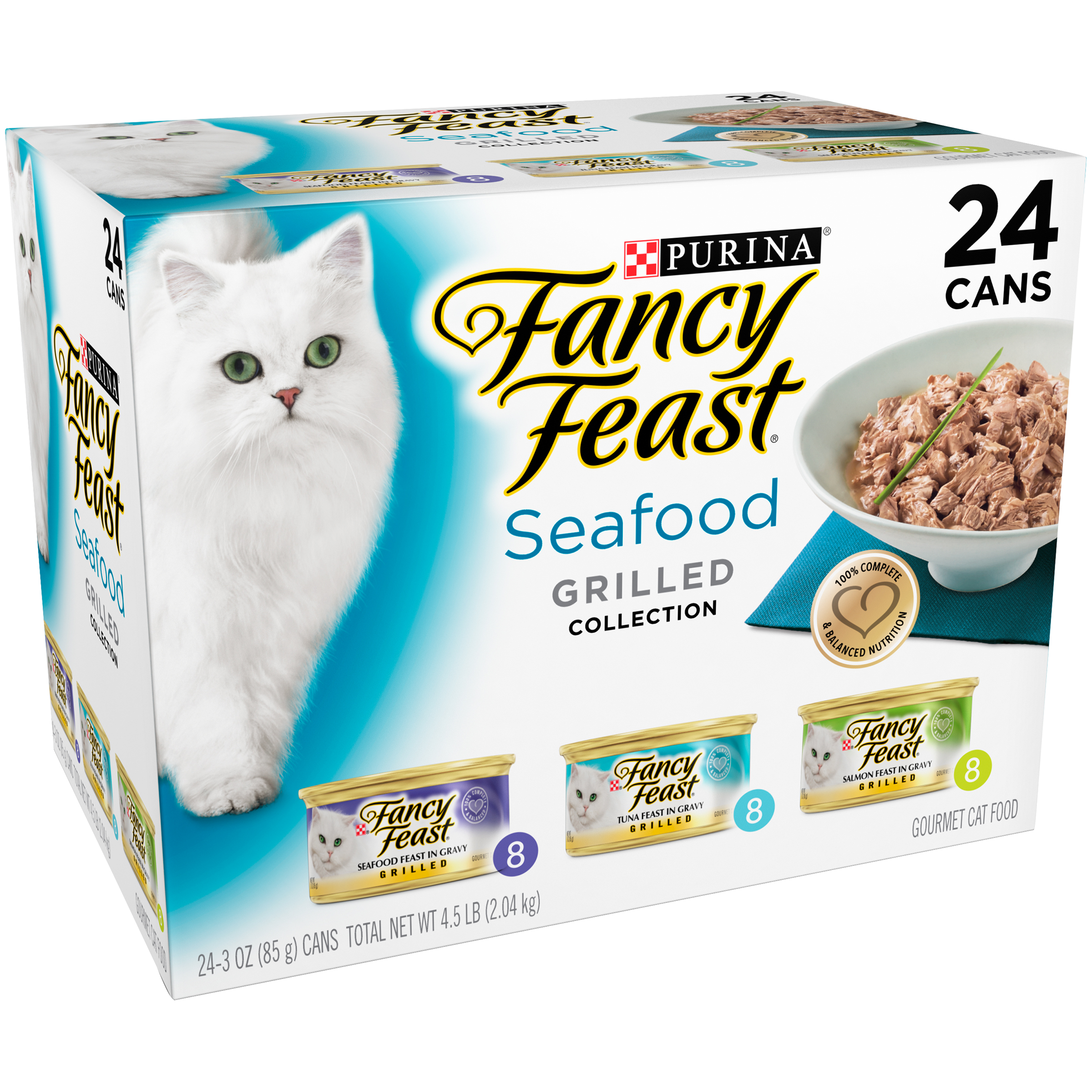 Purina Fancy Feast Grilled Seafood Feast Collection Cat Food 24-3 oz. Cans