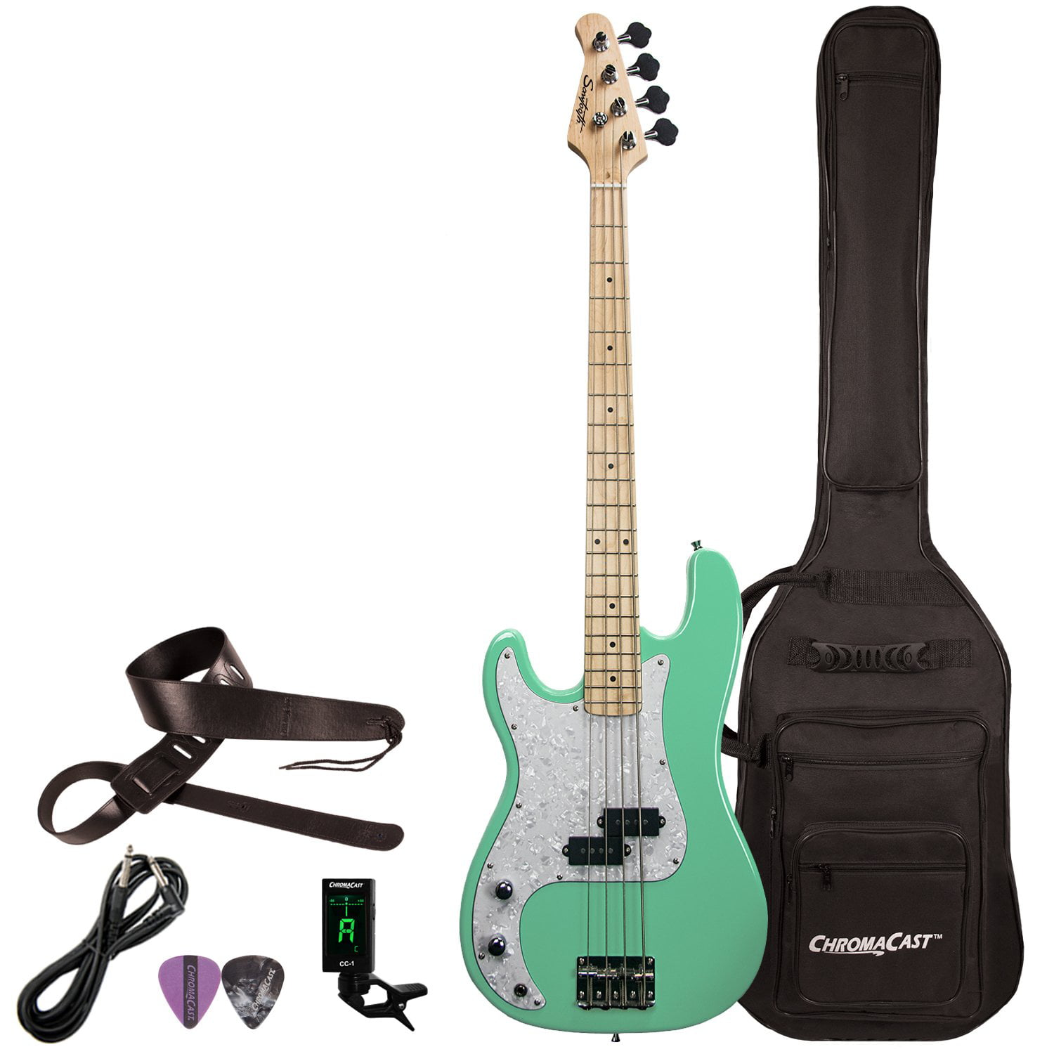 Sawtooth EP Series Left-Handed Electric Bass Guitar with Gig Bag & Accessories, Surf Green... by Sawtooth