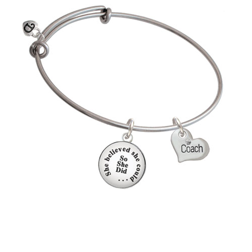 Small ''Coach'' Heart She Believed She Could Bangle Bracelet