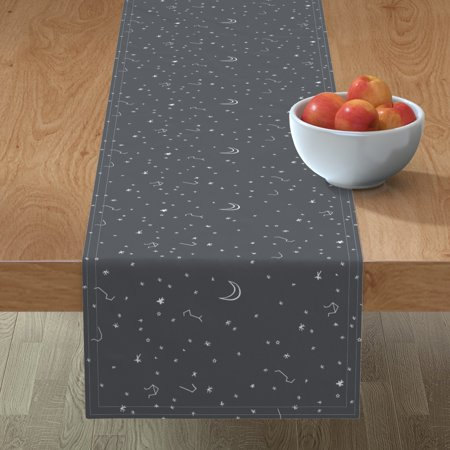 Image of Table Runner Space Stars Moon Constellations White Night Sky Dream Cotton Sateen