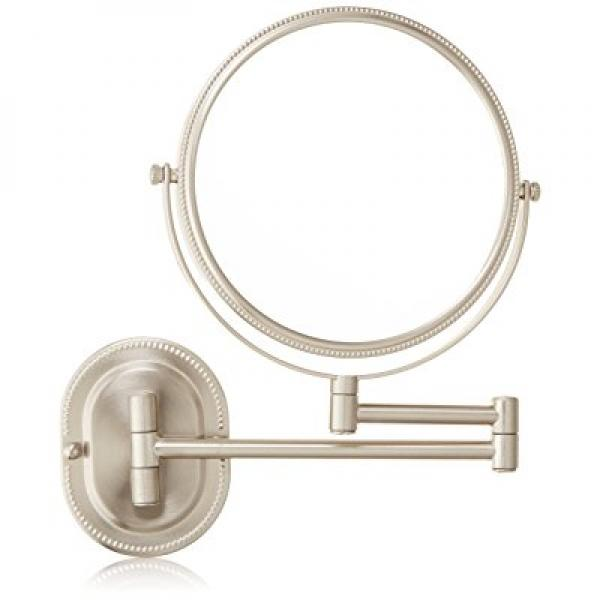 Jerdon JP7507NB 8-Inch Wall Mount Makeup Mirror with 7x Magnification, Nickel
