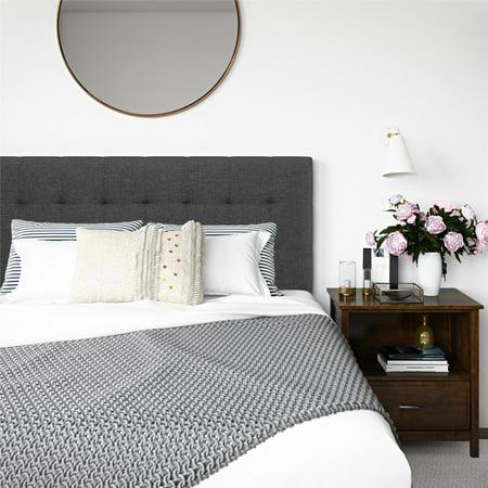 Better Homes and Gardens Porter Tufted Upholstered Full Queen Headboard, Gray ()