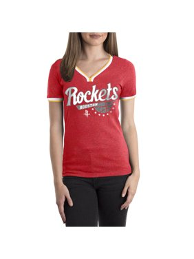 Houston Rockets Women's NBA Short Sleeve Biblend V Notch Scoop Neck Tee