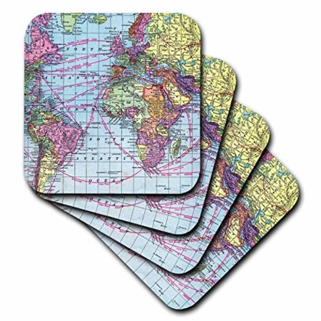 3dRose Colorful Vintage World Map - distance calculations between countries on lines - south america africa, Ceramic Tile Coasters, set of 4