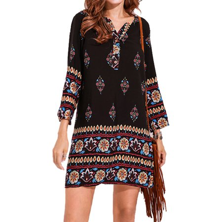 Women Fashion Clearance 3/4 Sleeve Floral Print Mini Shirt Dress