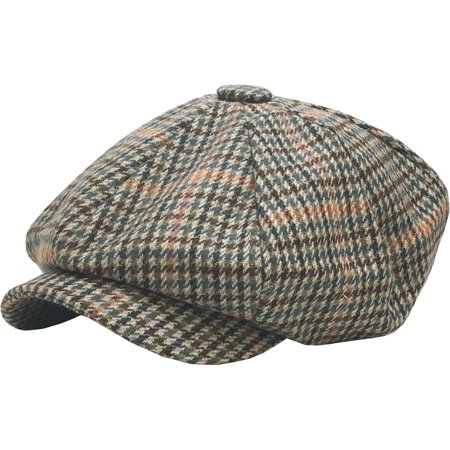 Brown Oversized Herringbone Wool Blend Applejack Newsboy Ascot Cabbie Ivy  Hat 5a083d02cec