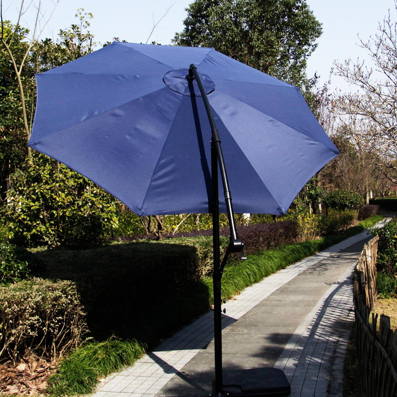 Kinbor 10 Ft Outdoor Patio Cantilever Umbrella Freestanding Garden Furniture Blue