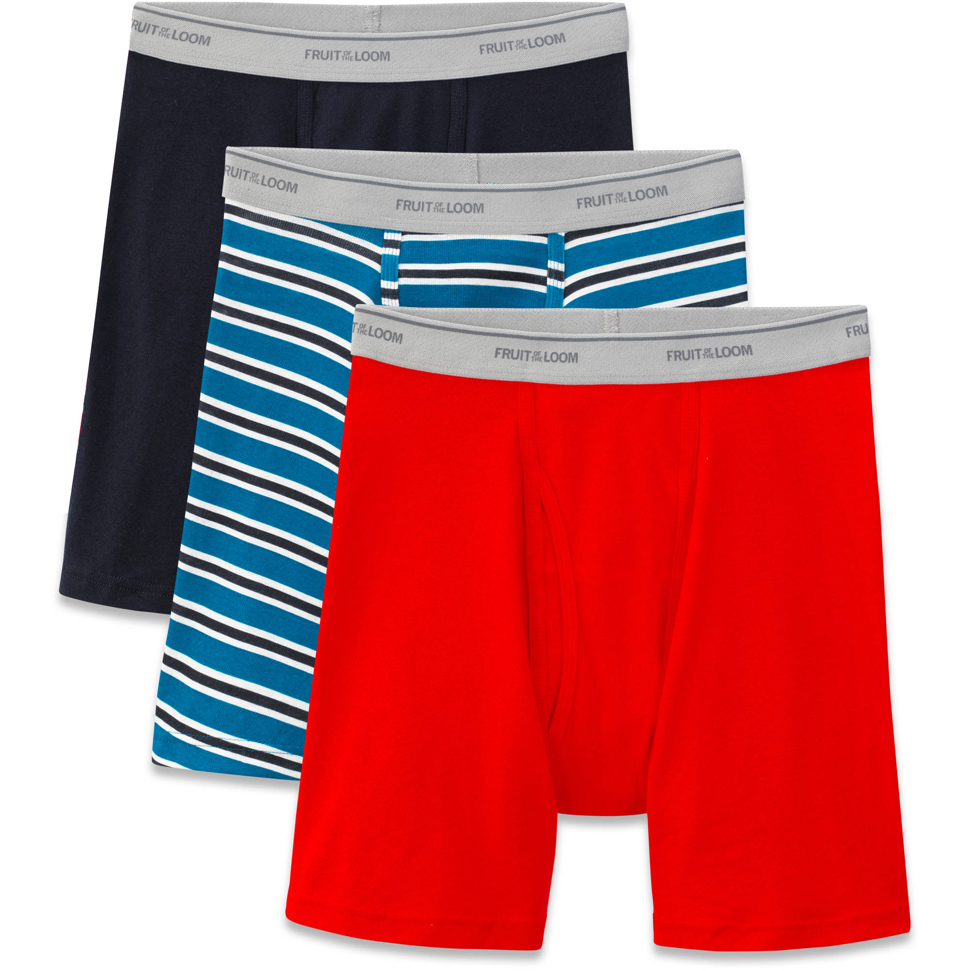 Fruit of the Loom Big Men's Stripes and Solids Boxer Briefs, 3-Pack