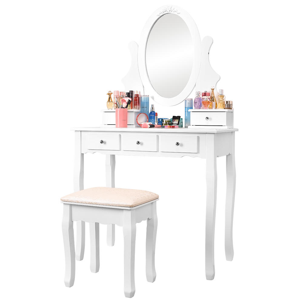 Makeup Bedroom Vanity Table Set with Oval Mirror and Cushioned Stool,  Bedroom Dressing Table Desk with 10 Storage Drawers, White