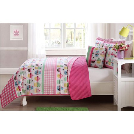 3 Pcs Twin Size Kids Children Boys Girls Teens Quilt/Sham/Cushion Set - Pink Cupcakes/Cup Cakes - Pink Teens