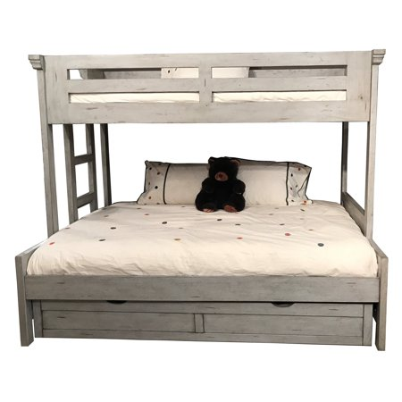 American Woodcrafters Stonebrook Twin Over Full Loft Bed with Optional Trundle - Antique Gray ()