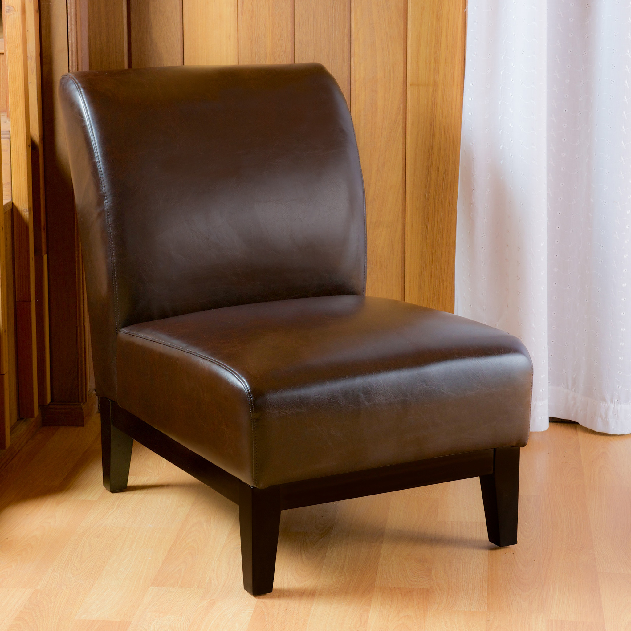 Dakota Brown Leather Slipper Chair