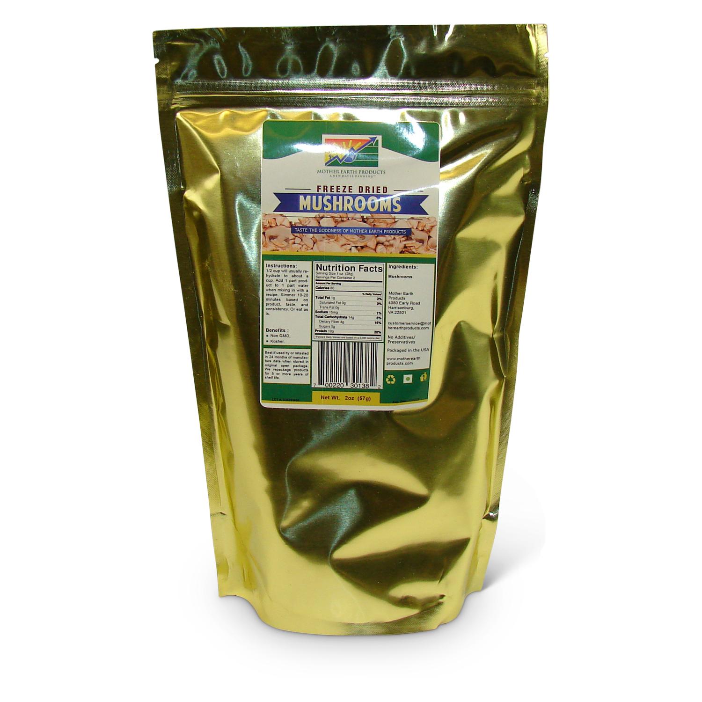 Freeze Dried Sliced Mushrooms, 1 full quart Mylar Bag