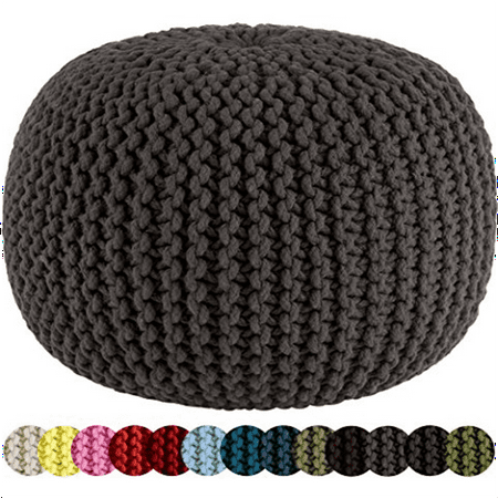Cotton Craft Hand Knitted Cable Style Dori Pouf Grey Floor Classy Knitted Floor Pouf Pattern