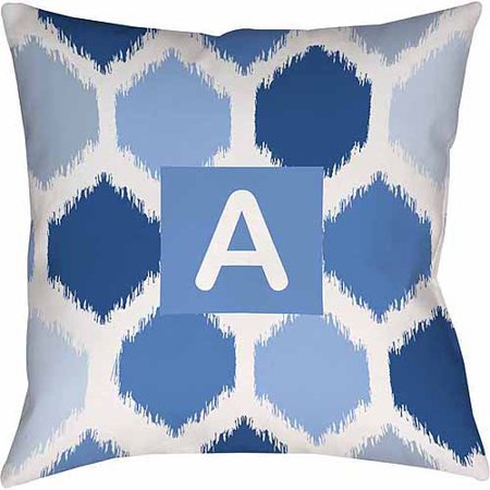 Thumbprintz Batik Monogram Decorative Pillow, Blue ()