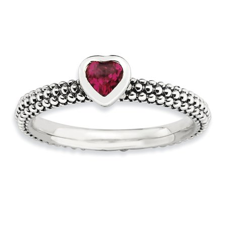 Sterling Silver Stackable Expressions Polished Cr.R Heart Ring Size 8 - image 2 of 3
