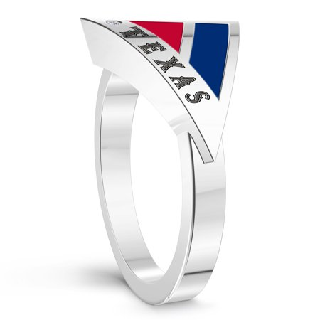 Texas Rangers Engraved Sterling Silver Diamond Geometric Ring In Blue & Red - image 2 of 6