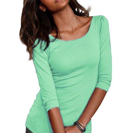 Womens Open Neck Shirt - Nlife Women 3/4 Sleeve Round Neck Open Back Solid Shirt Tops Blouse